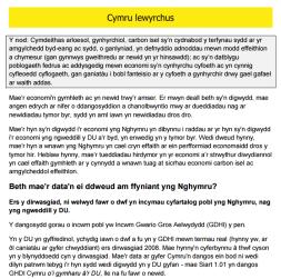 Llesiant Cymru: Enghraifft o naratif