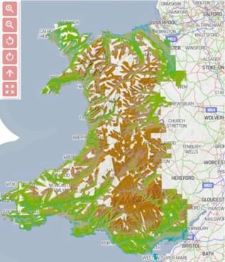 Map o Gymru o'r llwyfan geo-ofodol