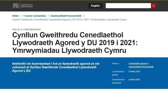 sgrinlun o ymrwymiadau Llywodraeth Cymru