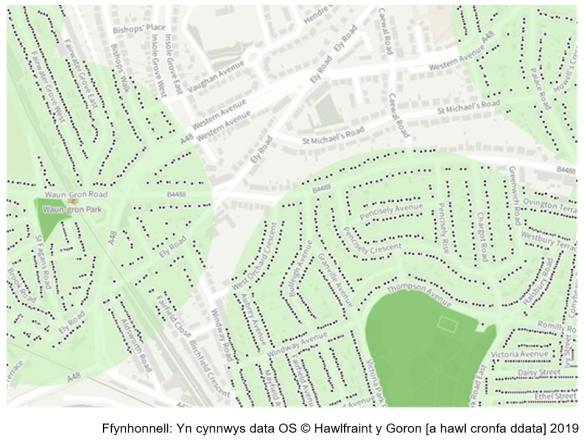 Map yn dangos strydoedd a thai mewn ardal o Gaerdydd.