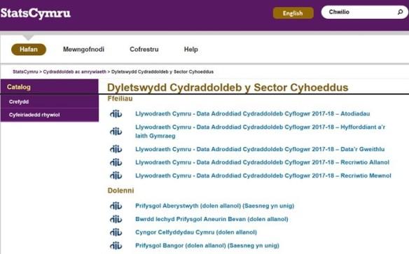 Llun o dudalen dyletswydd cydraddoldeb y sector cyhoeddus ar StatsCymru