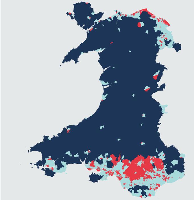 Tri grŵp clystyrau ar gyfer dangosyddion amddifadedd yng Nghymru.